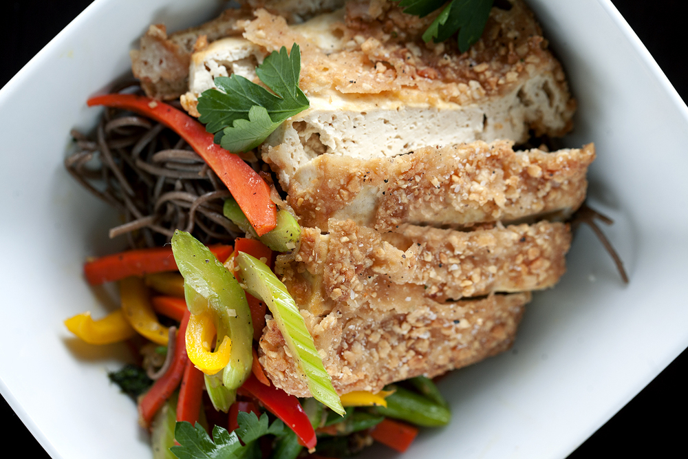 Cashew Crusted Fried Tofu with Hoisin Soba Noodles and Julienne Vegetables
