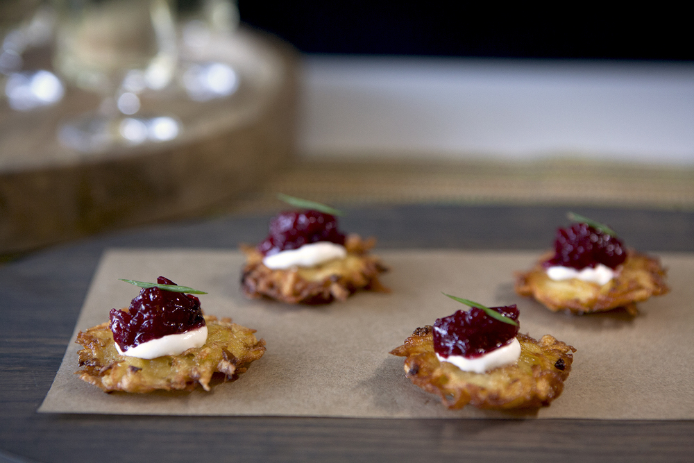 Potato Latkes with Cranberry Compote and Creme Fraiche
