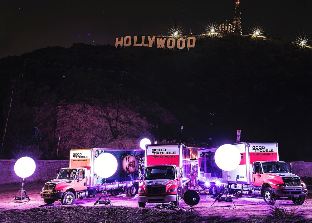 Event setting under the Hollywood sign