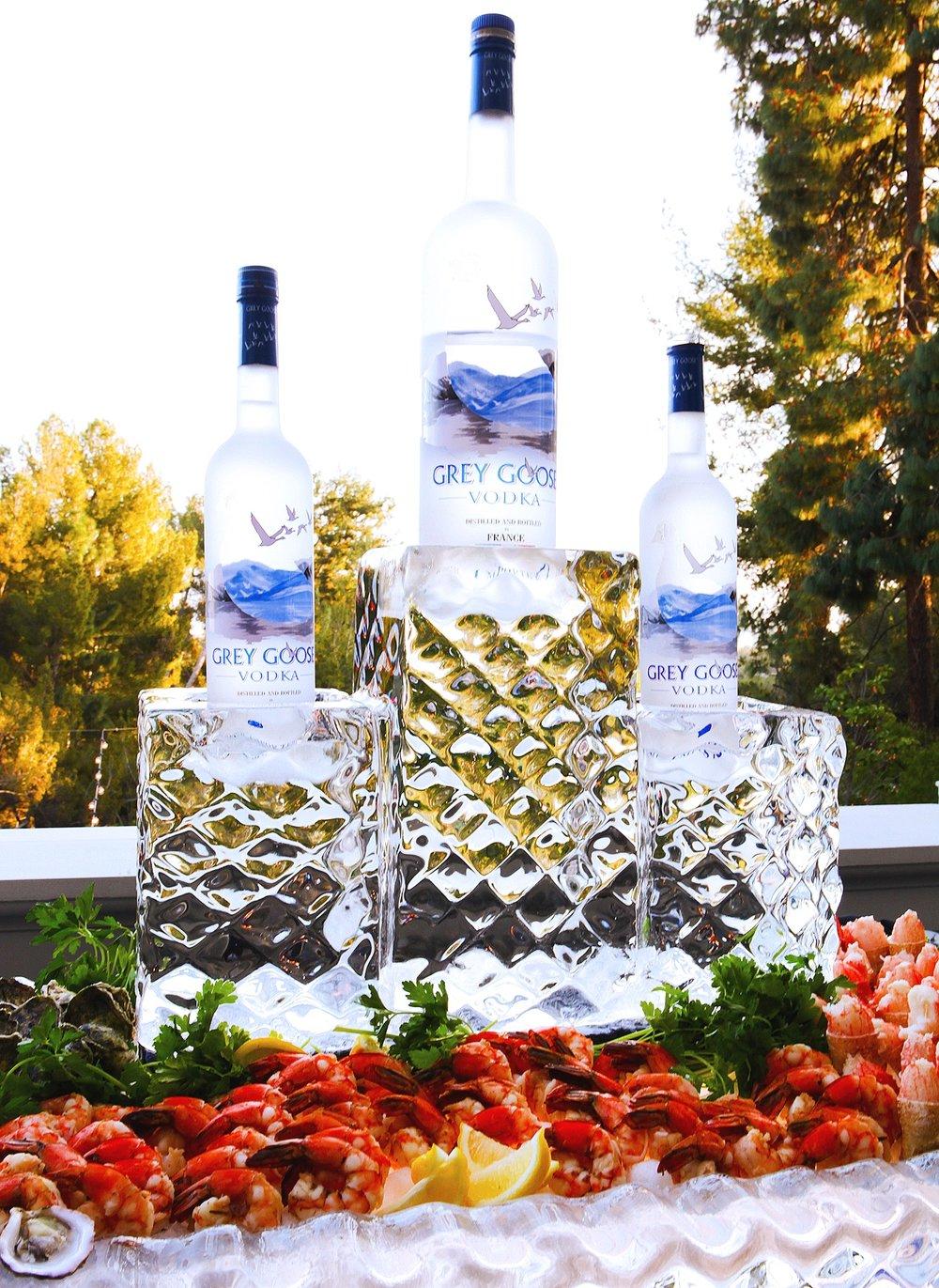 Seafood and vodka display