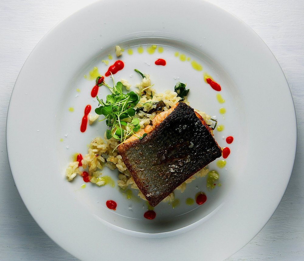 Salmon on bed of rice with micro greens