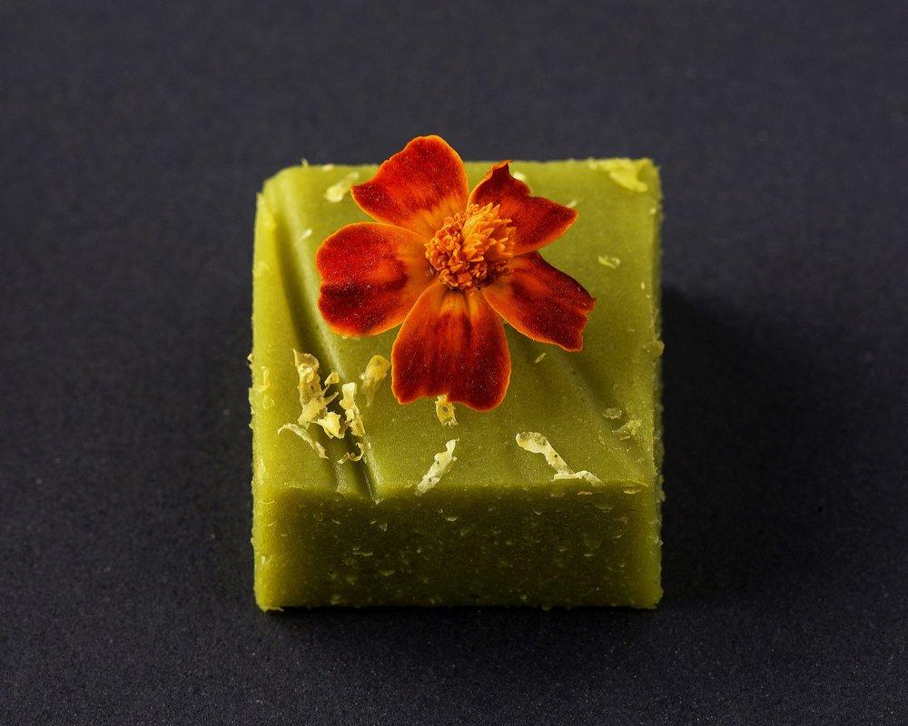 Sweet pea pate de fruit with edible flower