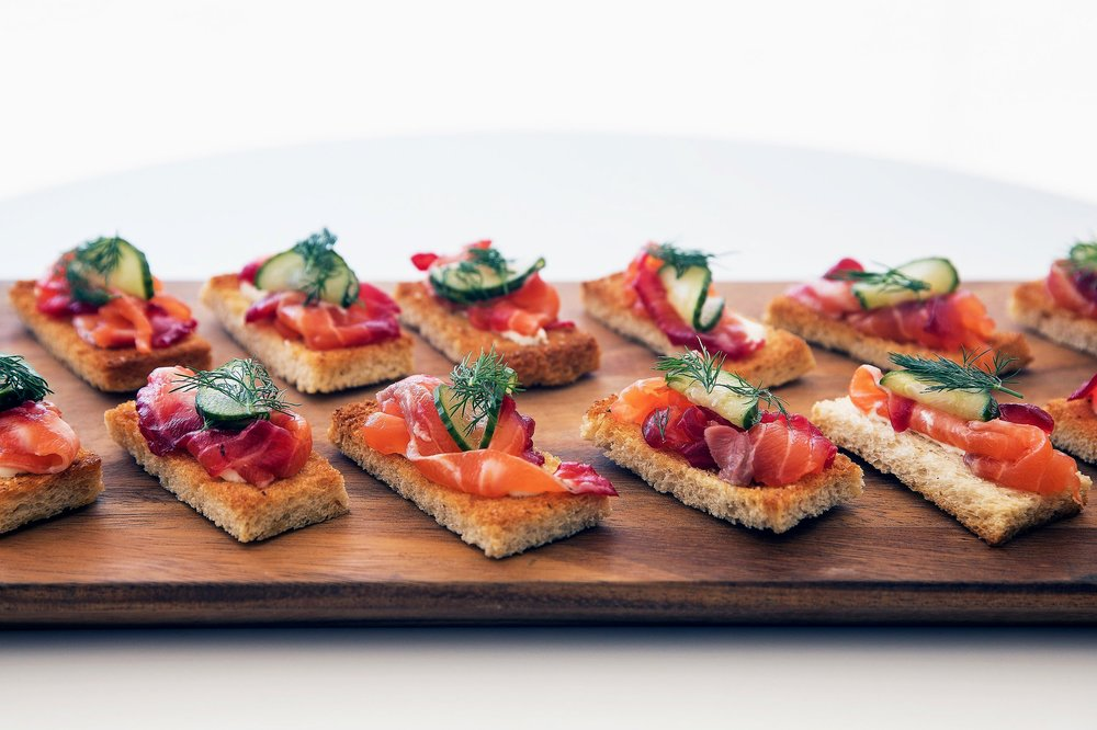 Salmon toast with cucumber and dill