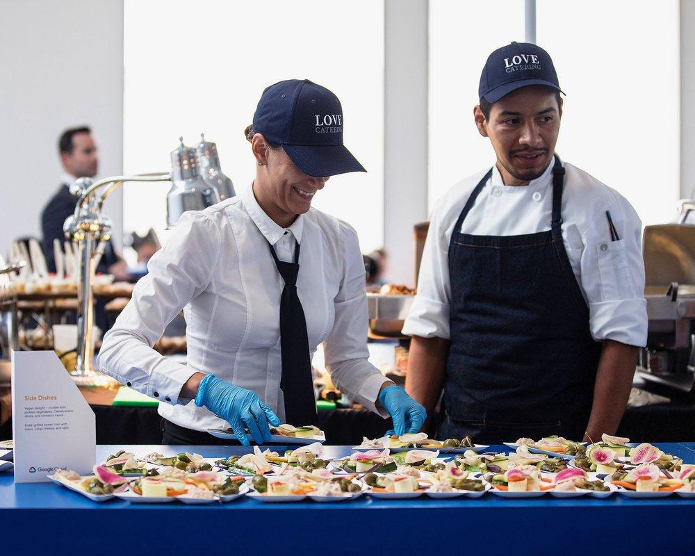 Staff preparing side dishes