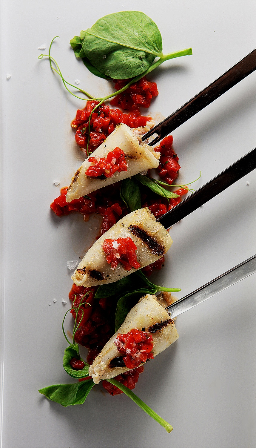 Stuffed squid with red pepper salsa