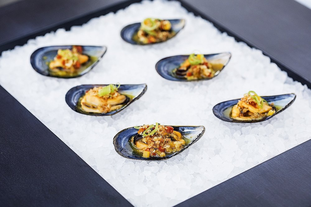 Mussels with chorizo, saffron, potato, herbed bread crumbs, and dry sherry.jpg