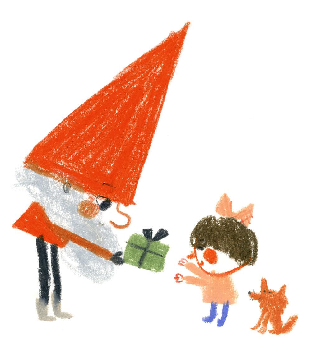 Santa brings presents in Hiroko Motai's MILJOONA BILJOONA JOULUPUKKIA (Schildts&Söderströms 2014).