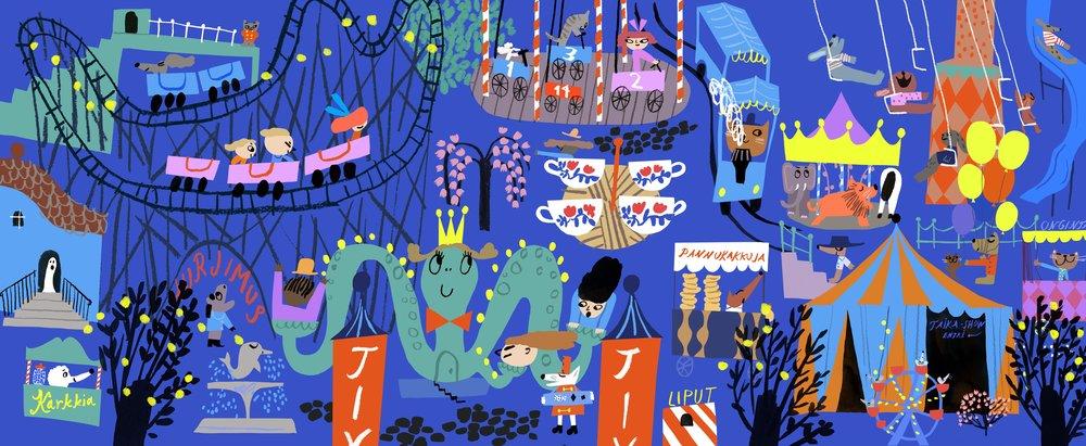 Amusement park in Juha Virta's and Marika Maijala's KISSA KATOAA (Etana Editions 2017).