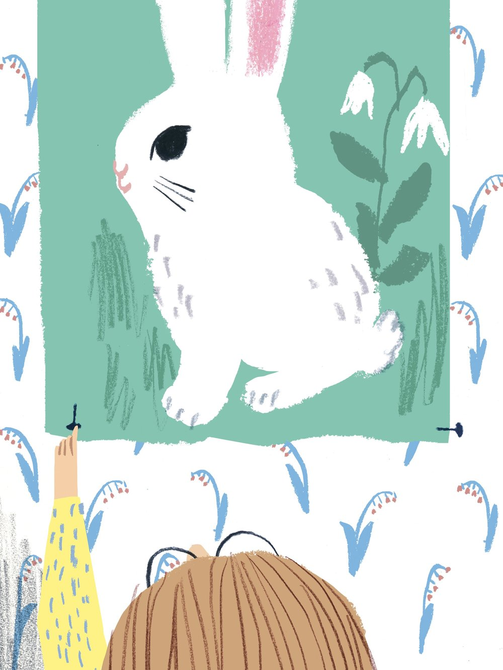 Kaja's room with bunny poster in Tove Pierrou's HONUNGSMJÖLK FÖR TRE (Natur&Kultur 2016).