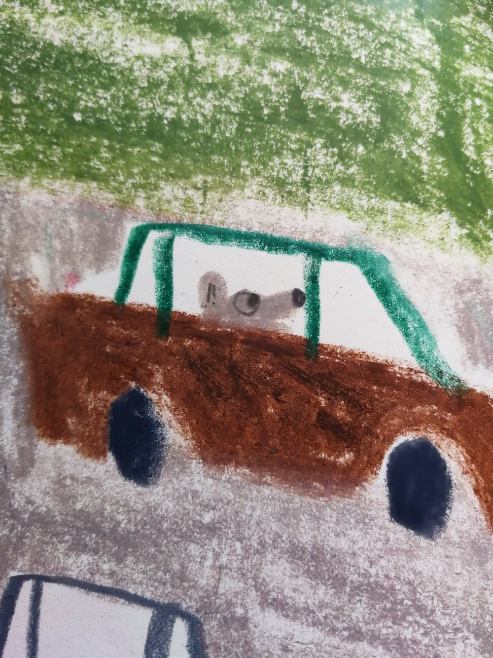 Terrified dog in a car in Marika Maijala's RUUSUN MATKA (Etana Editions 2018).