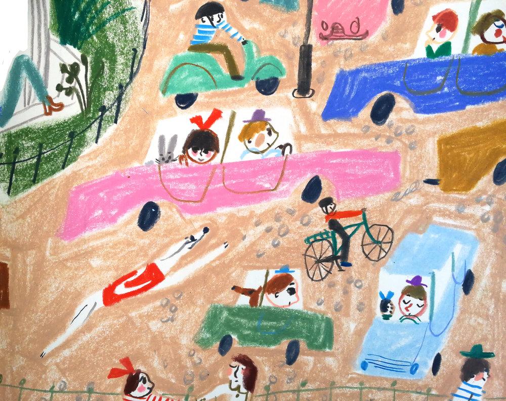 Passengers in cars in Marika Maijala's RUUSUN MATKA (Etana Editions 2018).