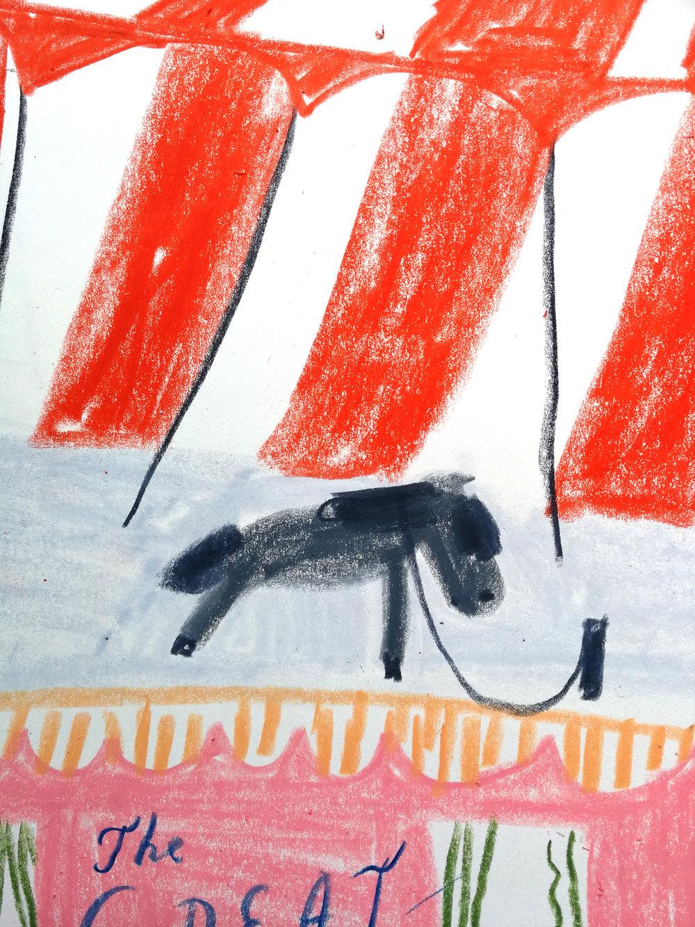 A circus pony in Marika Maijala's RUUSUN MATKA (Etana Editions 2018).