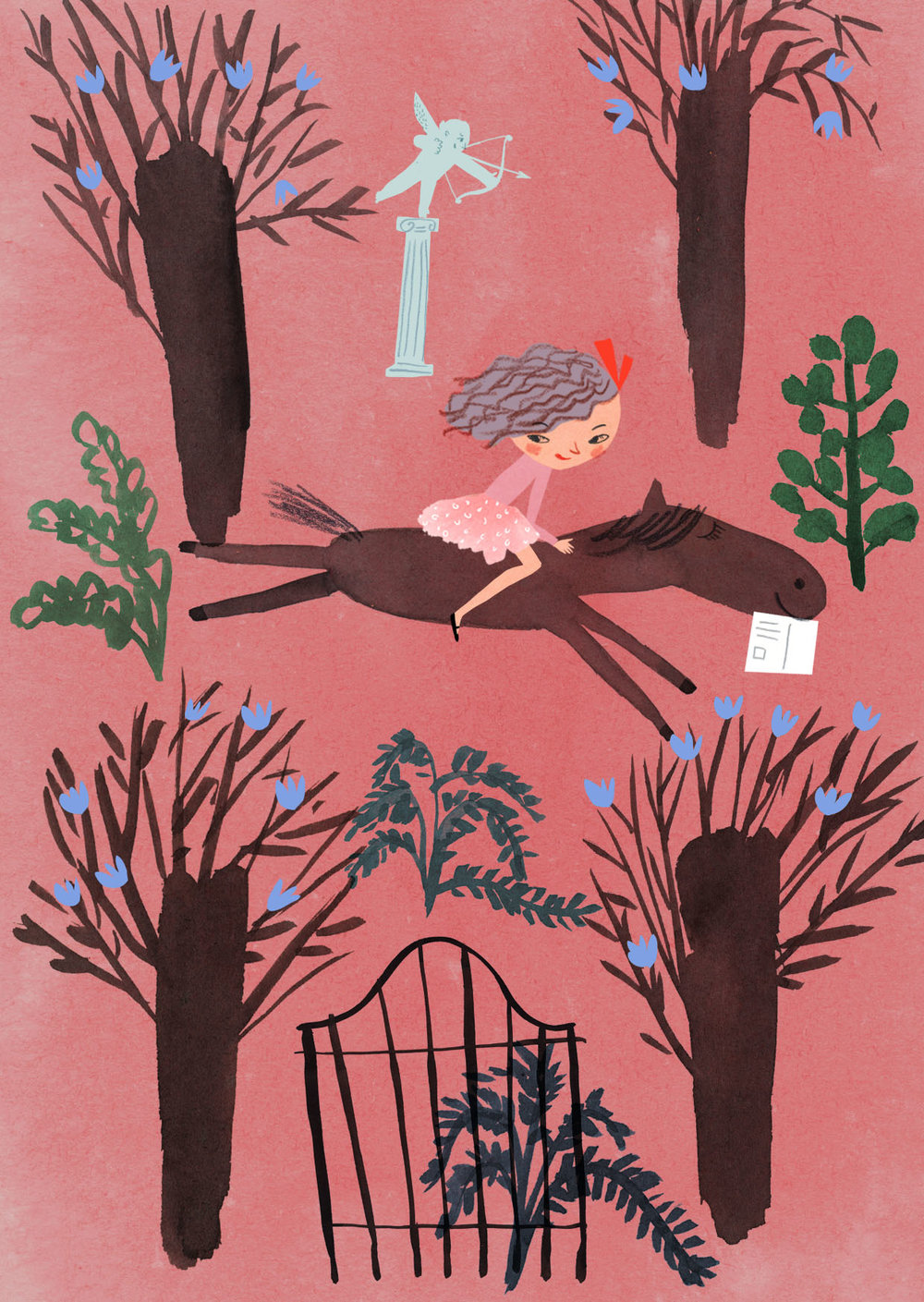 PEGASOS in a park,postcard for Kehvola (2015)