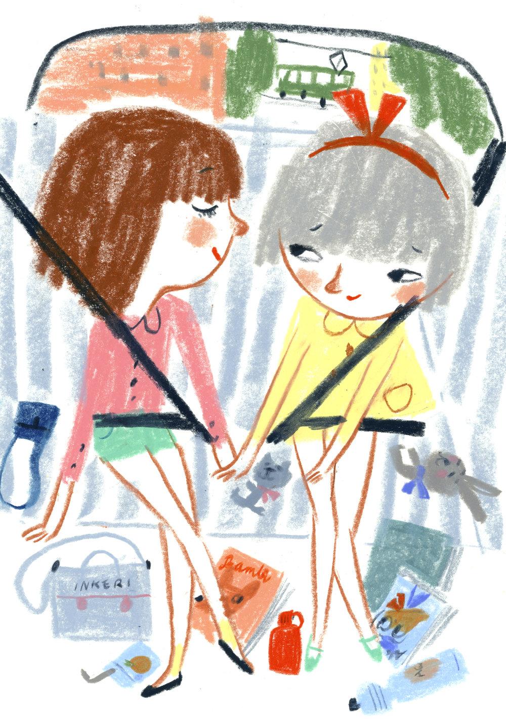 Friends forever in a car in Essi Kummu's HARJOITUSPUSUJA (Tammi 2015).