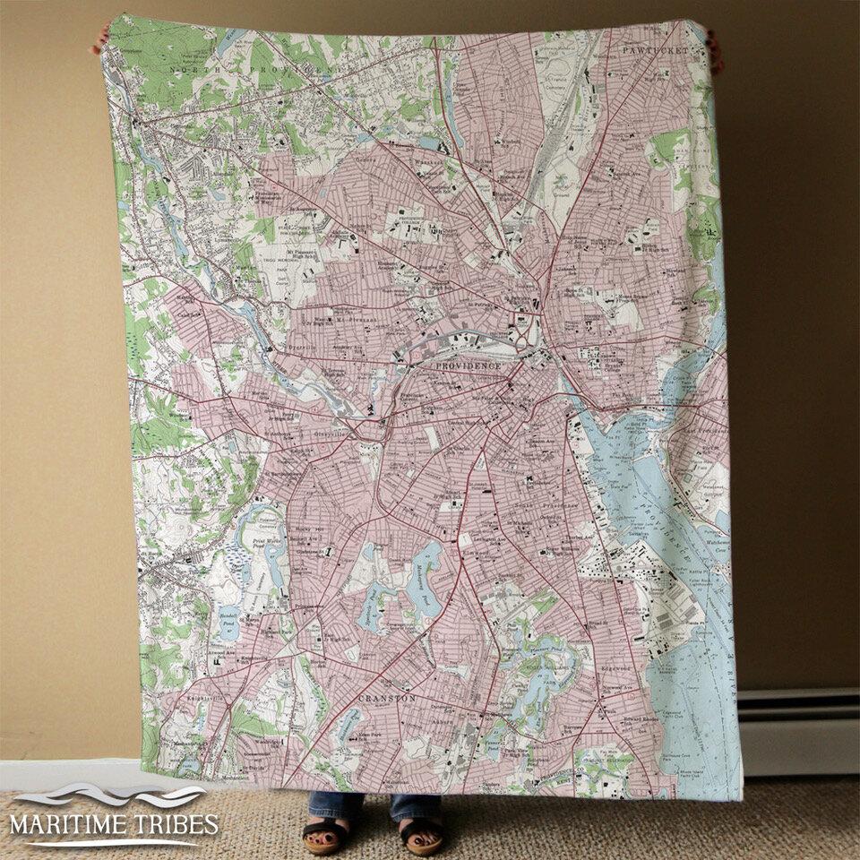 Rhode Island Gift Rhode Island Blanket Wanderlust Blanket Rhode Island Map Fleece Blanket Rhode Island Map Blanket