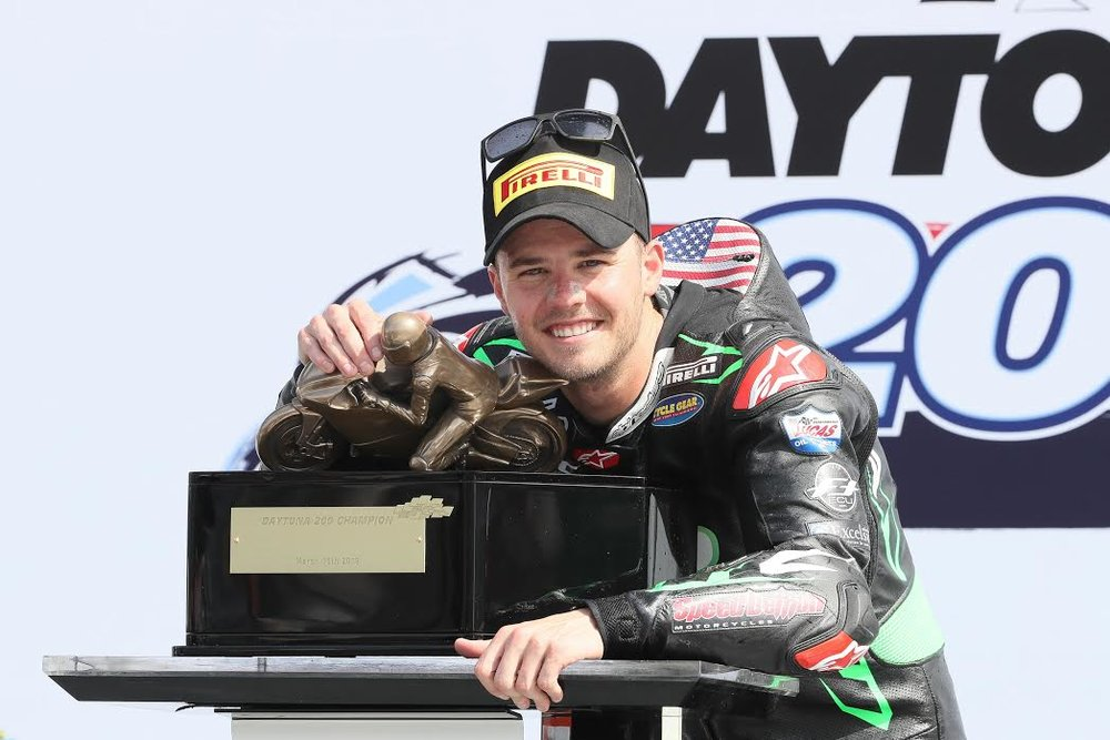 It was all smiles for Kyle Wyman after winning the 78th Daytona 200. | Photo - Brian J. Nelson