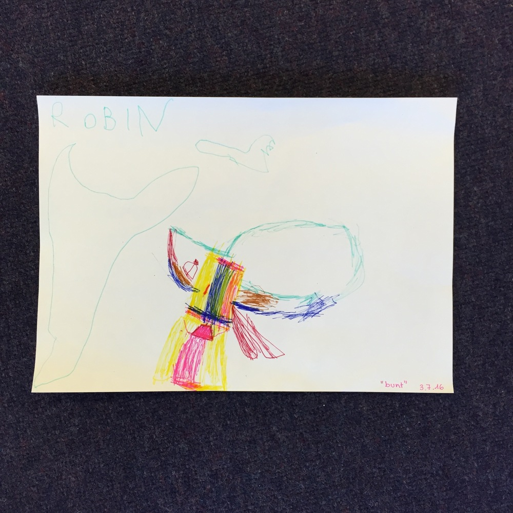 I especially enjoyed meeting Robin, who has just turned 4, and who wanted to make her own picture in response to one of mine.