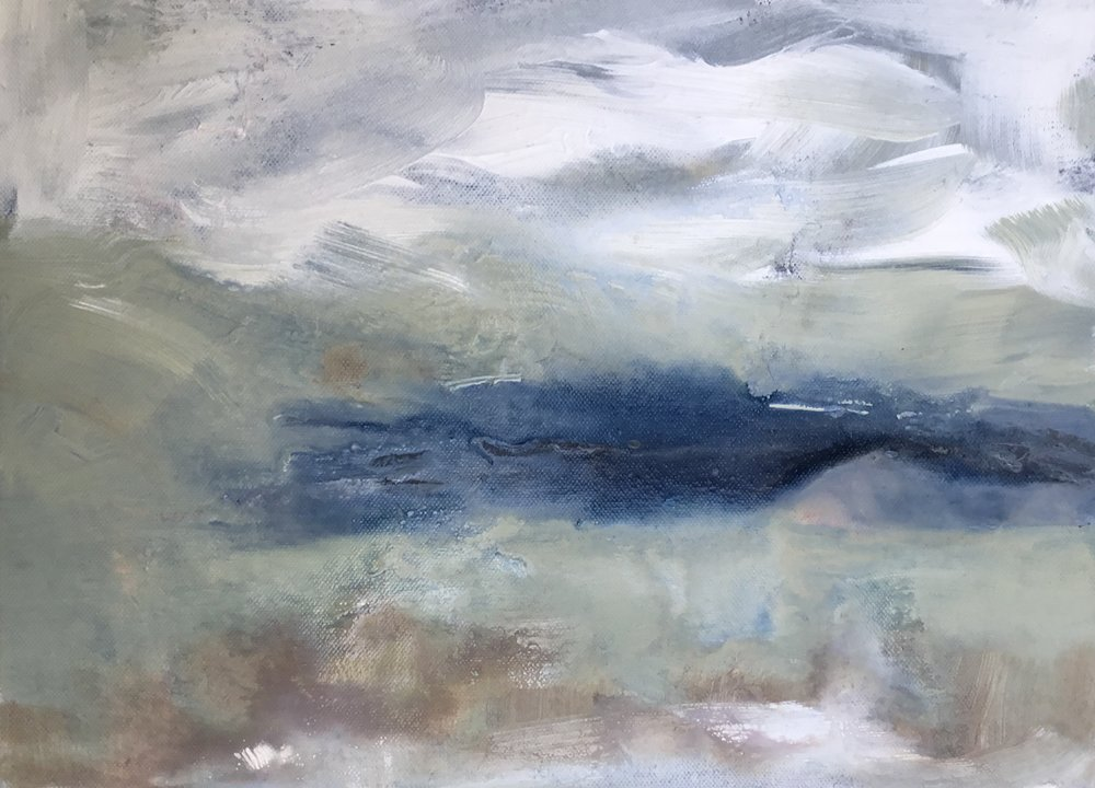 "looking out to Loch Quien  acrylic on canvas, 16 x 12"" Lynne Cameron 2018"