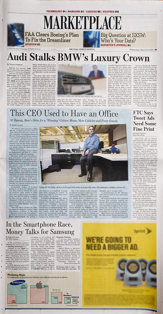 Marketplace section, The Wall Street Journal, March 13, 2013 edition