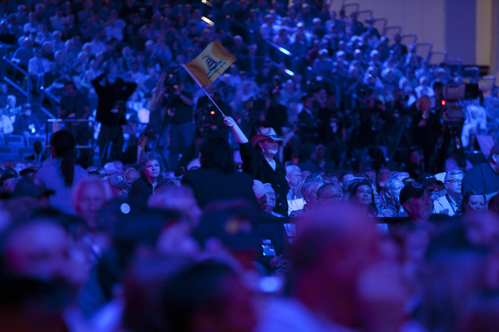 A member of the audience waves the Gadsden flag during the NRA-ILA Leadership Forum at the 2013 National Rifle Association Meeting and Exhibits May 3, 2013 in Houston.
