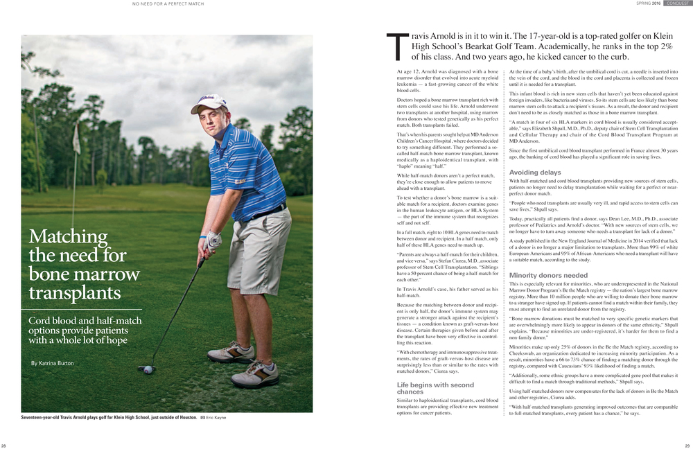 Page 28 and 29, Spring 2016 issue of Conquest magazine