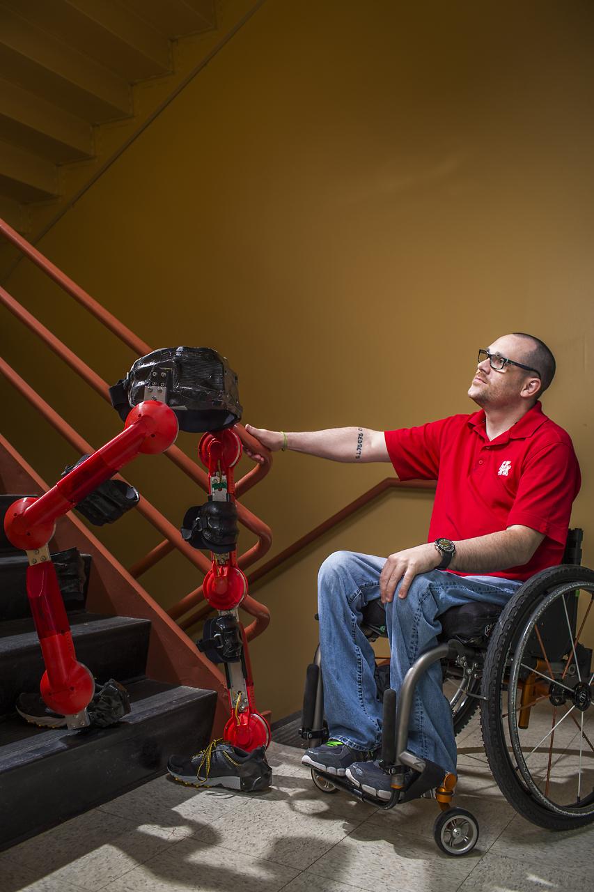 Pilot Matt Standridge will compete in the Cybathlon using an exoskeleton from the University of Houston's Noninvasive Brain-Machine Interface Systems Laboratory designed to help people with paraplegia to walk.