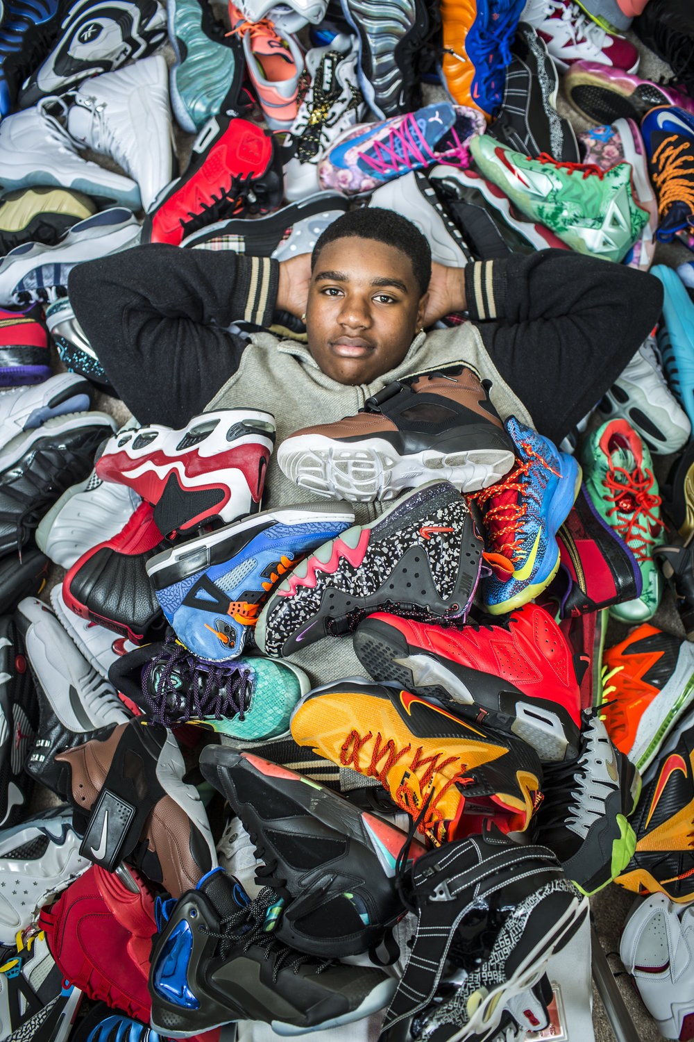 Sneakerhead Alonzo A. Moore, Jr. and just a portion of his sneaker collection, Thursday, Dec. 15, 2016 in Antioch, CA.