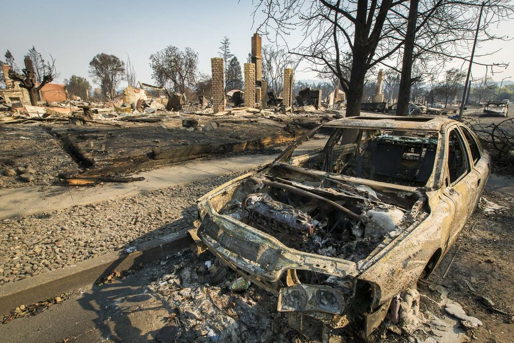 Fire aftermath in the Coffey Park neighborhood Oct. 13, 2017 in Santa Rosa, CA.