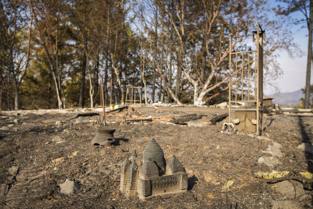 Jan Hoyman's property destroyed by wildfire in a secluded neighborhood off Tomki Road Oct. 15, 2017 in Redwood Valley, CA.