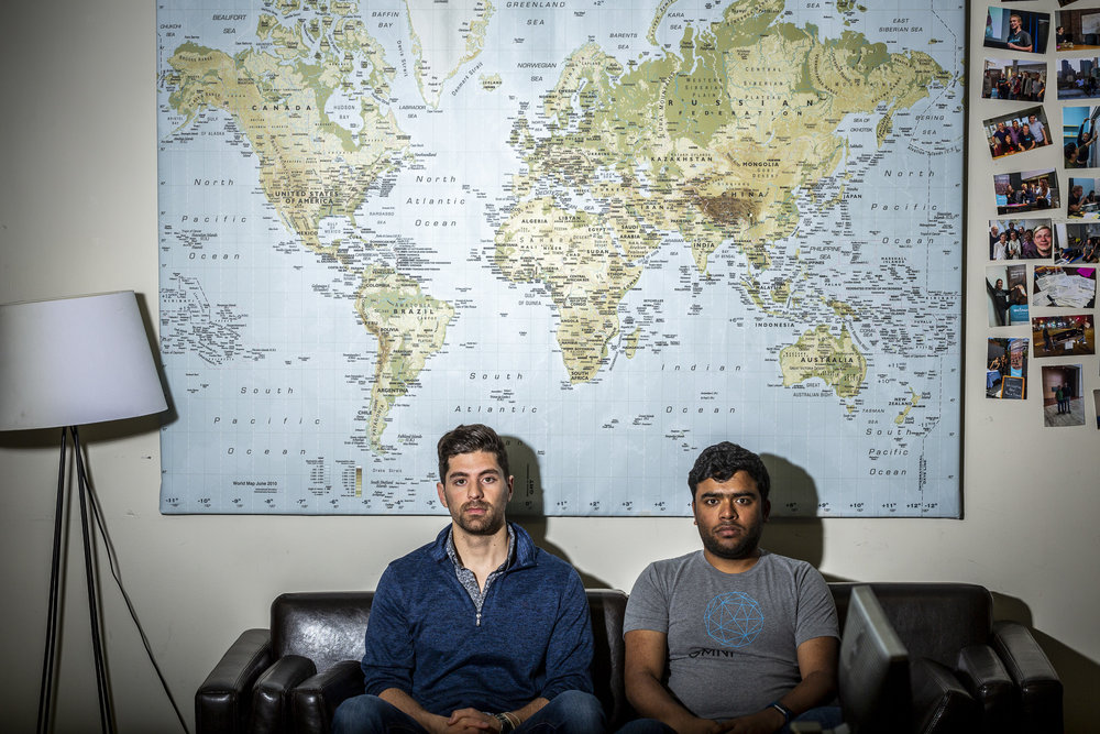Alex Modon, left, and Vikram Tiwari, co-founders of Omni Labs, Inc., Friday, April 13, 2018 in San Francisco, CA.