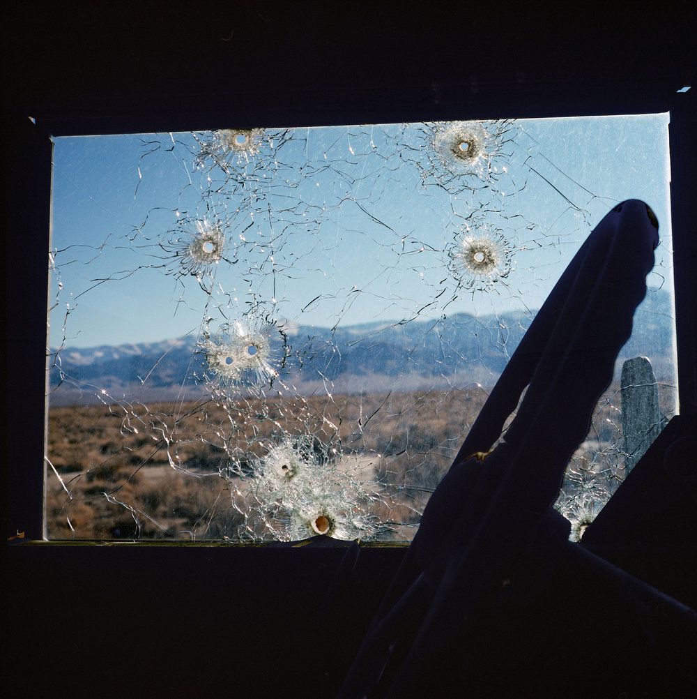 A demilitarized troop carrier, used as target practice inside the Dixie Valley Naval Training Area in the Nevada desert. The area was purchased by the US Navy in 1995 to use for combat simulation by fighter and electronic warfare pilots. The area is littered with decommissioned tanks, radar stations, troop vehicles and other abandoned structures. While the area is publicly accessible, there is still a warning sign at the entrance to the valley stating that the area is still actively used for training purposes.