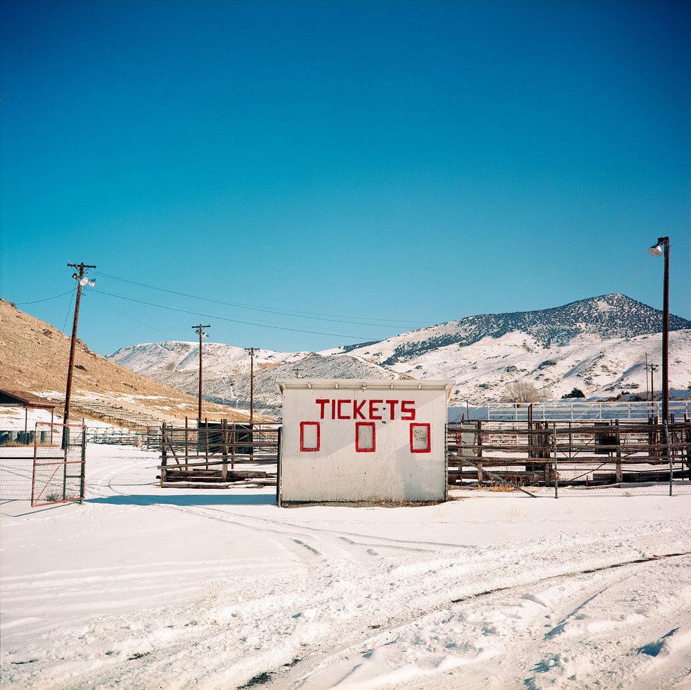 Ticket booth, Blackhawk Arena, Salina, Utah.