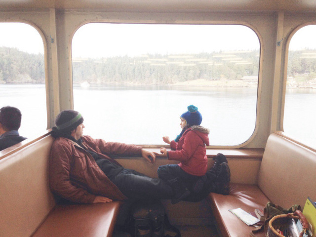 When Cedar is excited, he talks a lot.  Like for hours. ; )  Deep conversation on the ferry.