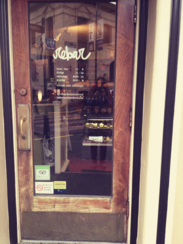 Rebar  has a delicious healthy menu and in beautiful Bastion Square downtown.