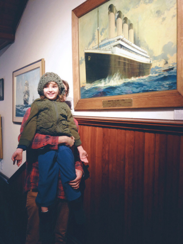 We took Cedar to the Martime Museum of BC downtown.  He has a fascination with the Titanic and one day I will write about his connection to it here.  But he was utterly stoked their was a picture of it here, as well as many models that looked similar.