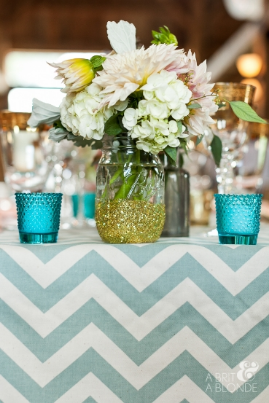 "Pale blue Chevron table runners Fits on an 8' rectangle table or 60"" round table $15 each Photo: A Brit & A Blonde"