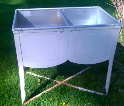 Vintage double metal sink-perfect for filling with ice for self serve beverages, or for a raw bar  $75