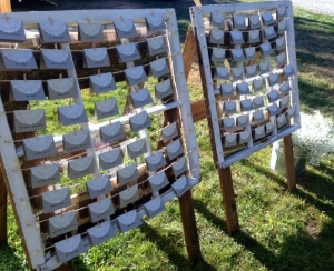 Vintage window frames with string  to pin escort cards on reclaimed wooden easels  Perfect for escort card display   $50 each