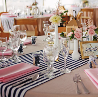 "Navy blue and white stripe table runners Fits on a 6' or 8' rectangle table or 60"" round table $15 each Photo: Michelle Turner"