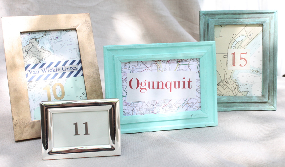 Frames-small for table names/numbers or bar & dessert signage sizes vary, custom colors available.  $3 each