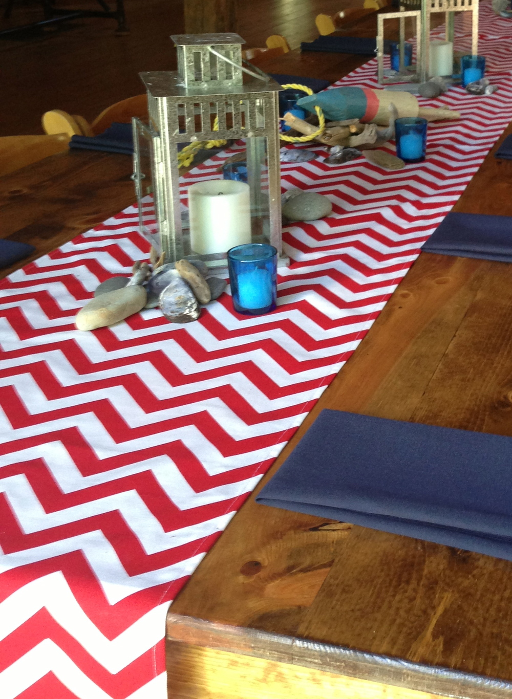 "Red Chevron table runners, fits on a 6', 8' rectangle or 60"" round table $15 each"