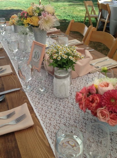 "White Lace table runners-fits on 6', 8' rectangle and 60"" round table $15 each"