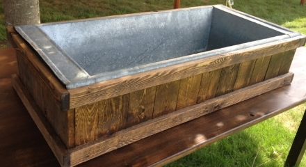 Galvanized tub in wooden frame-custom made, great for oysters, chilling and serving beverages  $100