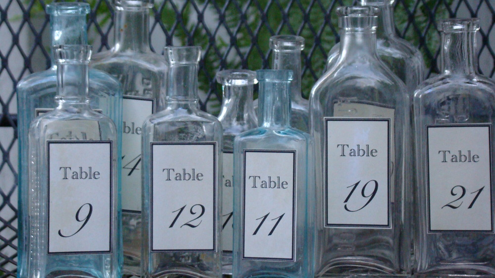 Vintage Medicine Bottles for Table Numbers   $3 each