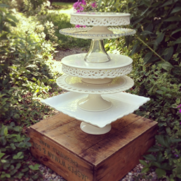 Vintage cake pedestals-ivory and white porcelain and clear glass.  Sizes and colors vary  $15 each