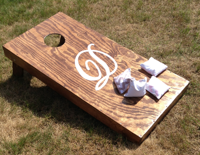Bean Bag Toss Game  $75 per set, to rent-plain walnut wood finish  $250 per set, to keep -customized with your initials and custom color bean bags