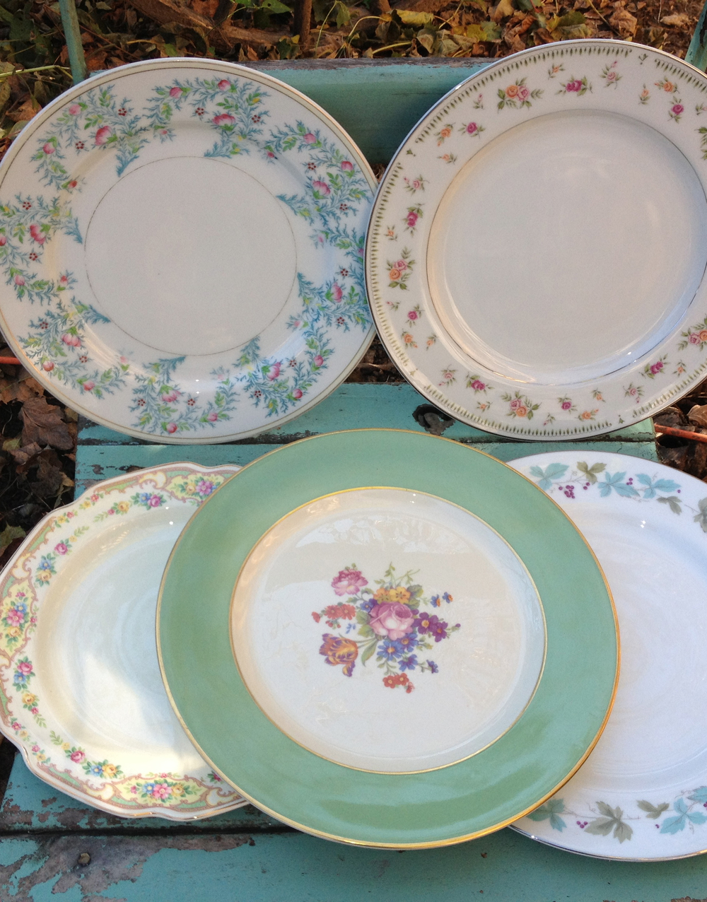 Assorted Pattern vintage dinner plates-pastels and dark blue transfer ware mix  $5 each