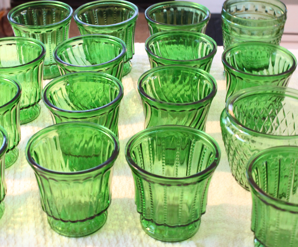 Vintage green glass containers- assorted sizes and shapes for flowers   $3 each
