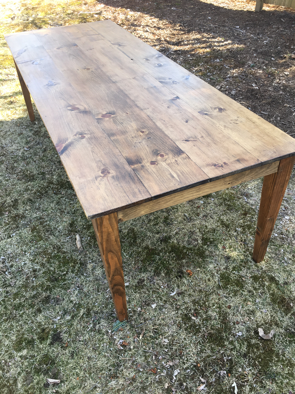 "Wooden Farm Tables hand made  8' L x 37"" W tapered legs, walnut finish, seats 8 people on sides, or 10 people with seats on each end  $110 each"