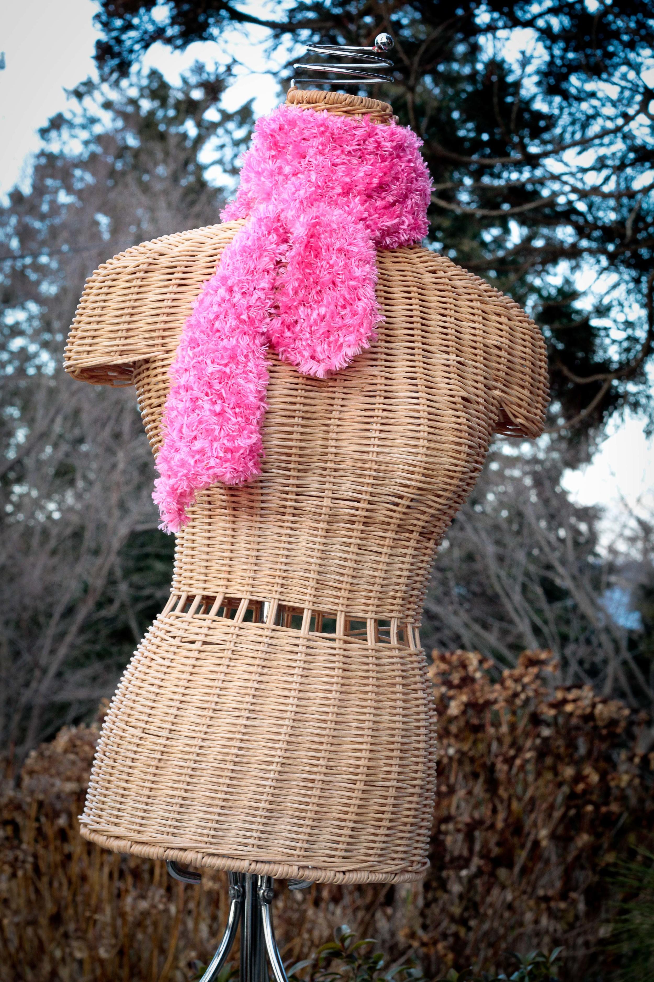 Pink boa knit scarf
